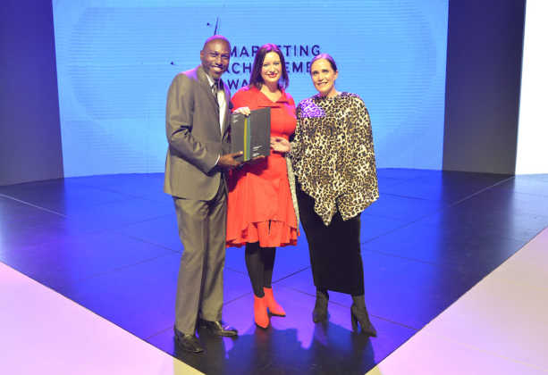 Winners of the Excellence in Internal Marketing award Themba Nobanda (CEO Brand Spear MAA council member and judge) Katinka Pretorius (MD of Sunshine Gun) and Deidre