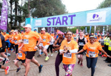 Jacaranda FM's Elana Afrika-Bredenkamp all hyped up at the start of the 2018 Discovery Jacaranda FM Spring Walk