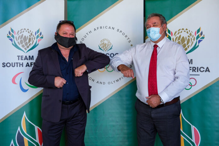 L-R - Neil Wilkinson, Managing Director at Kryolan South Africa and Barry Hendricks SASCOC President